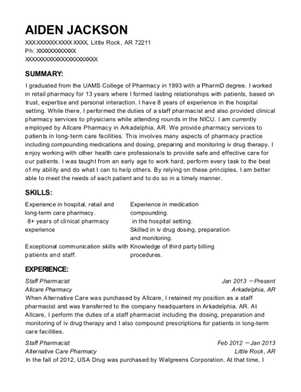 Omnicare pharmacist sample resume