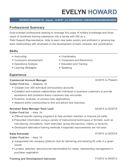 Commercial sales manager sample resume
