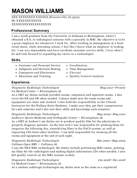 mason williams - Radiologic Technologist Resume Sample