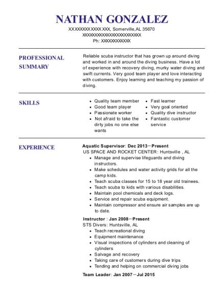 Best Aquatic Supervisor Resumes | ResumeHelp