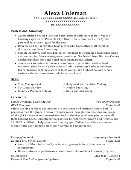 sales advisor resumes