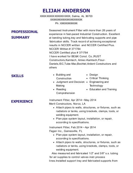 best instrument fitter resumes resumehelp rh online resumehelp com Nccer Exam Nccer Exam