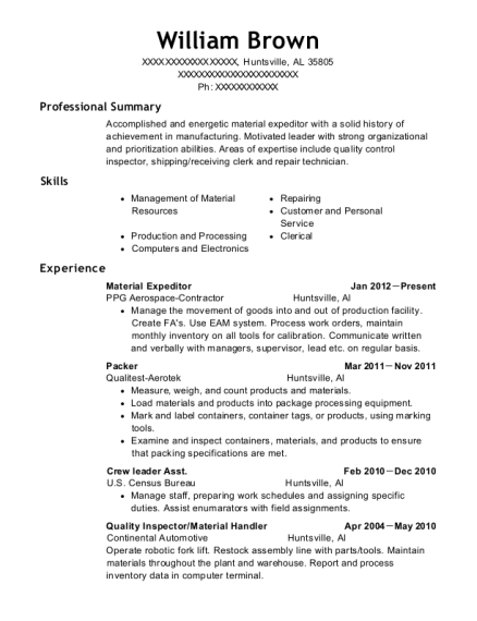 view resume material expeditor