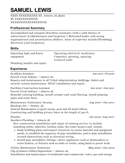view resume facilities assistant