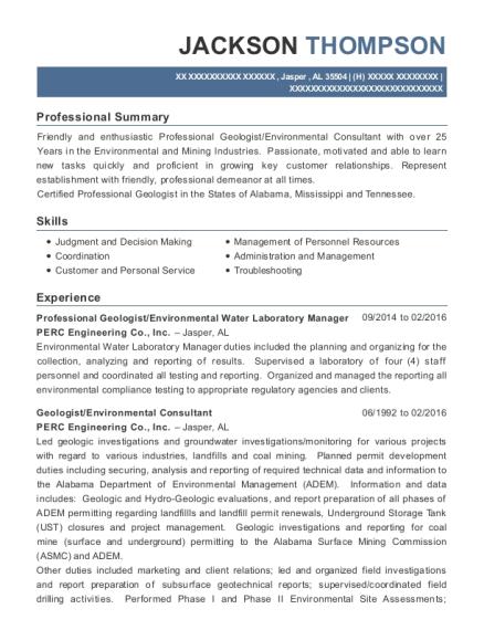Perc Engineering Co Professional Geologist Resume Sample - Jasper ...