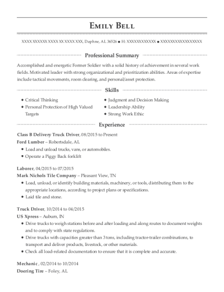 ford lumber class b delivery truck driver resume sample daphne