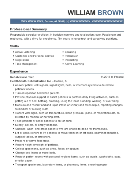 william brown - Nurse Technician Resume