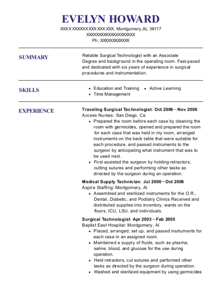 supply technician resumes