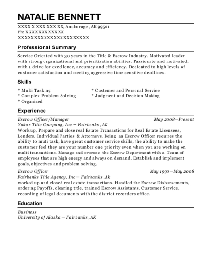 first american title escrow officer resume sample