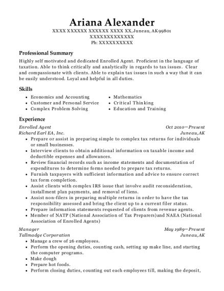 Best Enrolled Agent Resumes Resumehelp