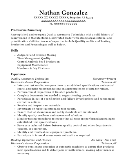 People Also Search For Customize Resume View Quality Assurance Technician
