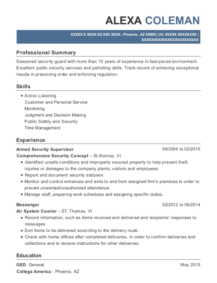 Comprehensive Security Concept Armed Security Supervisor Resume ...