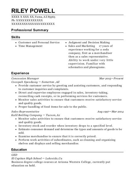 Best Concession Manager Resumes | ResumeHelp