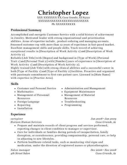 christopher lopez - Salon Manager Resume