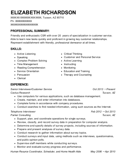 telephone interviewer resumes - Gecce.tackletarts.co