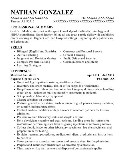 Best Medical Assistant Resumes in Tucson Arizona | ResumeHelp