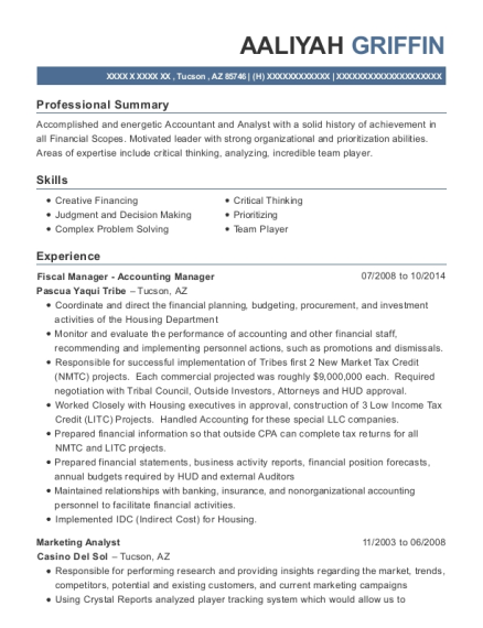 aaliyah griffin - Marketing Analyst Resume