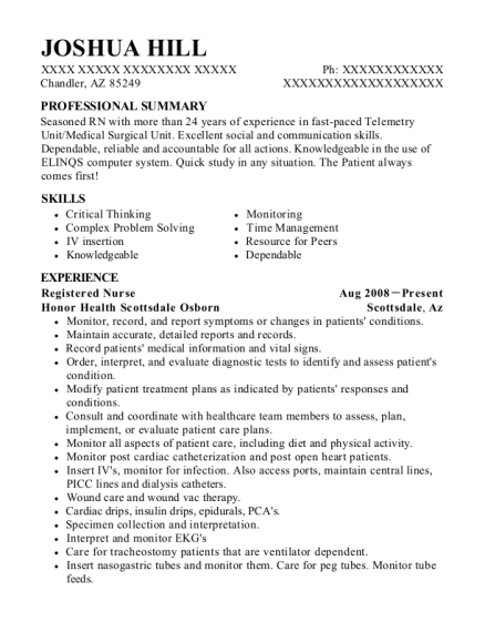 joshua hill - Senior Charge Nurse Sample Resume