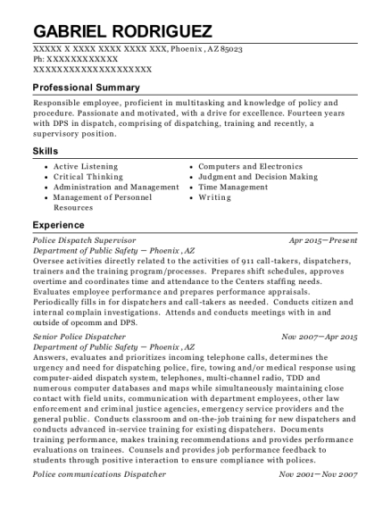 View Resume. Police Dispatch Supervisor