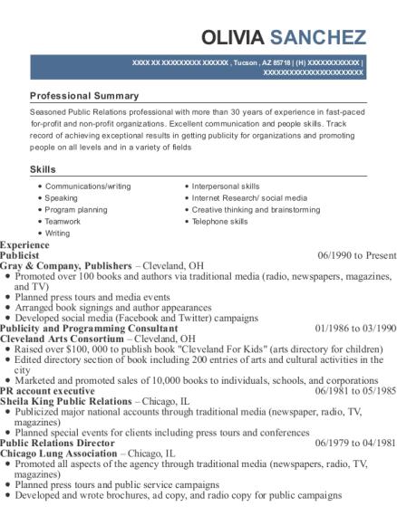 Greenstub Entertainment Publicist Resume Sample - Harper Woods ...