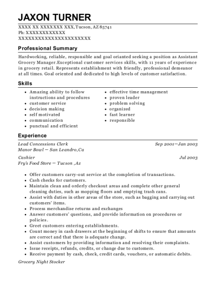 Technical Intern , General Merchandise Clerk. Customize Resume · View Resume