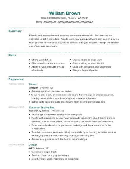 Amazon Stower Resume Sample - Phoenix Arizona | ResumeHelp