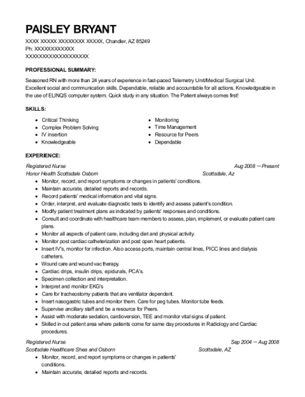 paisley bryant - Senior Charge Nurse Sample Resume