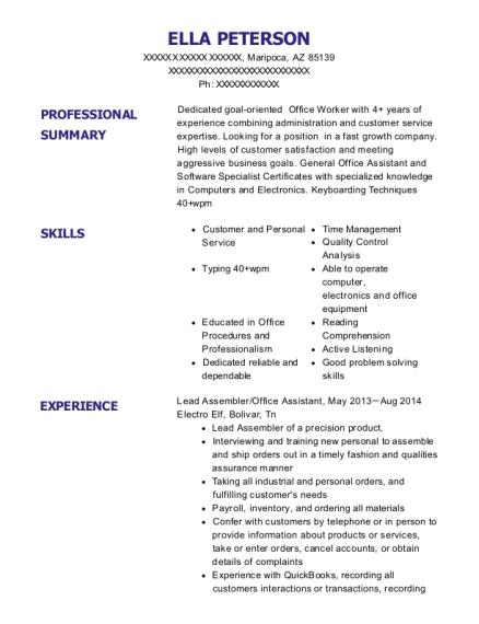 Best Lead Office Assistant Resumes   ResumeHelp