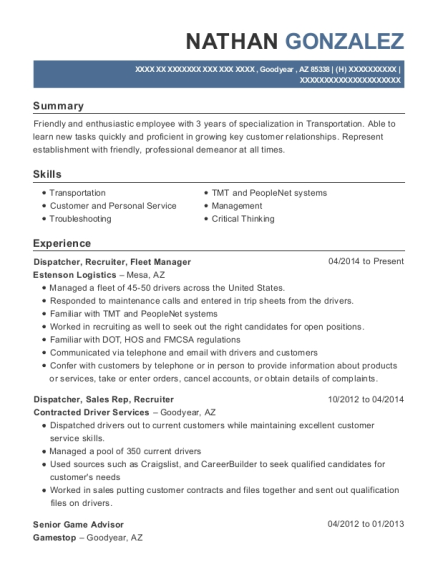 Nathan Gonzalez   Fleet Manager Resume  Fleet Manager Resume