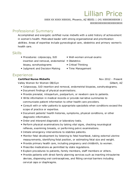 lillian price - Certified Nurse Midwife Resume
