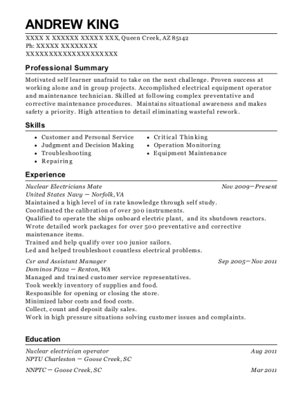 View Resume Nuclear Electricians Mate