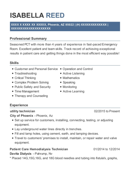 View Resume. Utility Technician