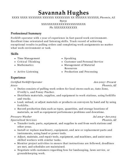 View Resume. Certified Forklift Operator