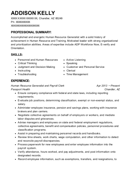 addison kelly - Payroll Clerk Resume
