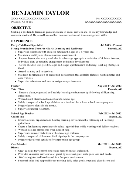 ... Early Childhood Specialist. Customize Resume · View Resume