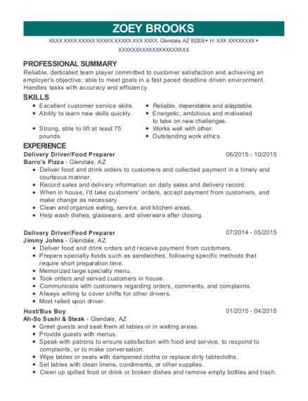 food preparer resume