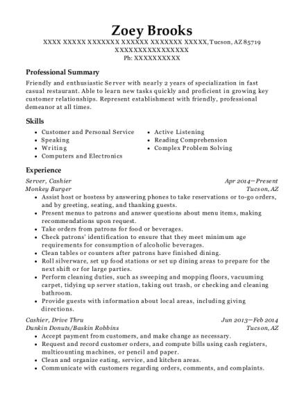 zoey brooks - Sandwich Maker Resume