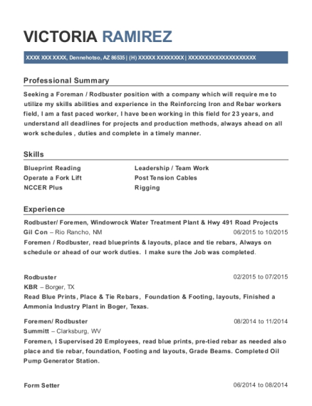 Harris Davis Construction Rodbuster Resume Sample Dallas