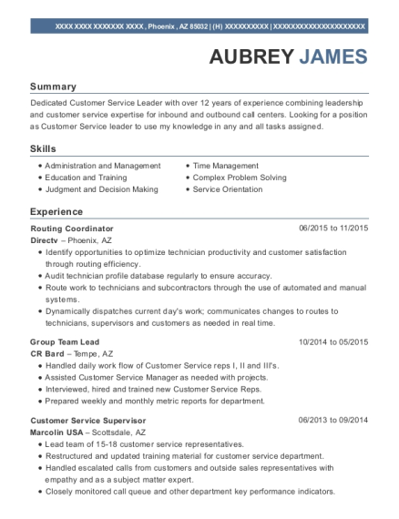 Directv Routing Coordinator Resume Sample - Phoenix Arizona | ResumeHelp