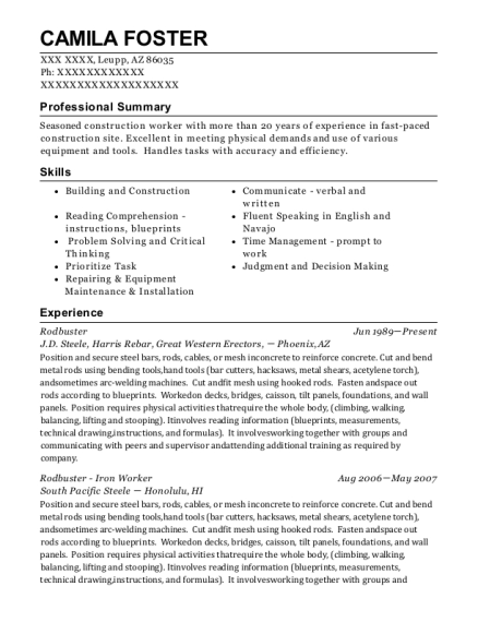 harris davis construction rodbuster resume sample