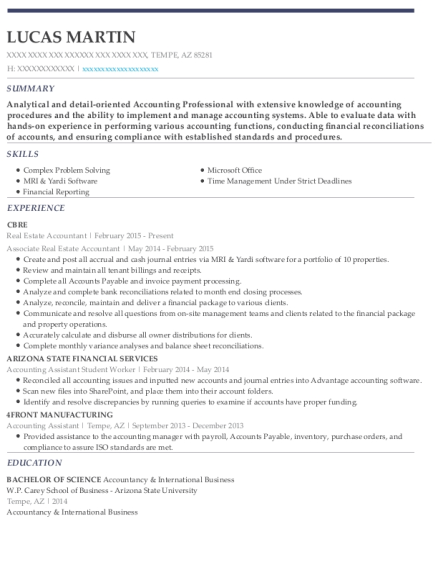 View Resume. Real Estate Accountant