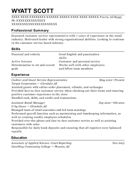 View Resume Cashier And Guest Service Representative