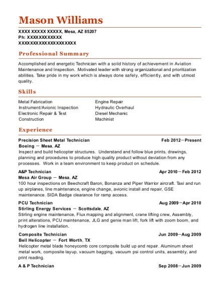 Composite Technician , Machine Operator. Customize Resume · View Resume
