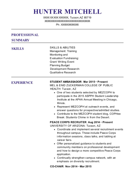 hunter mitchell - Peace Corps Resume
