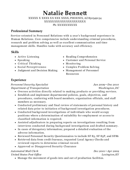 fbi personnel security specialist resume sample