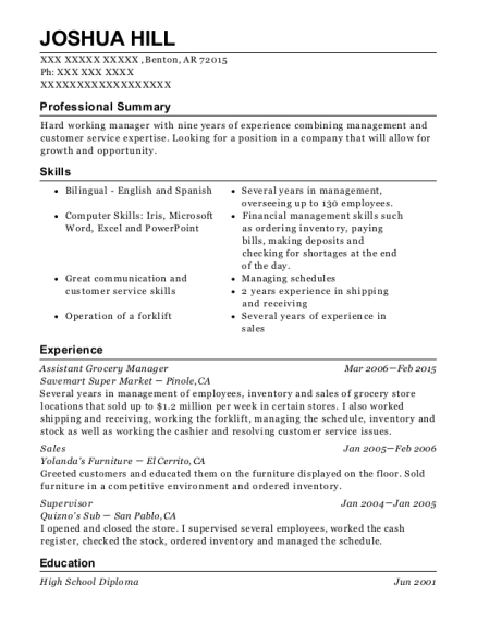 view resume assistant grocery manager