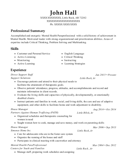 sample resume for paraprofessional position - best mental health paraprofessional resumes resumehelp