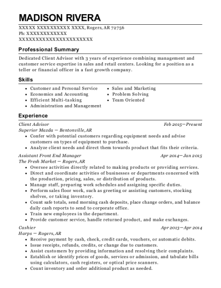 View Resume. Client Advisor