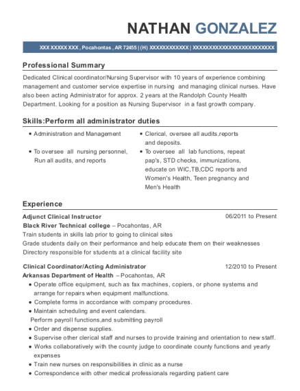 nathan gonzalez - Clinical Instructor Resume