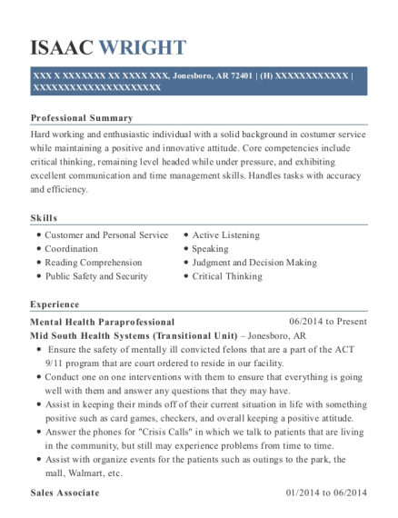 Isaac Wright  Paraprofessional Resume